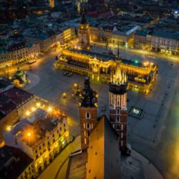 Rynek Główny w Krakowie z perspektywy Kościoła Mariackiego