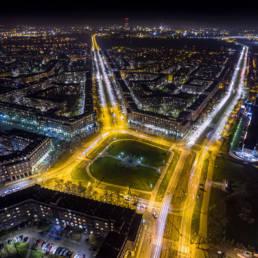 Nowa Huta, Plac Centralny nocą